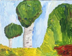 Två träd och kulle