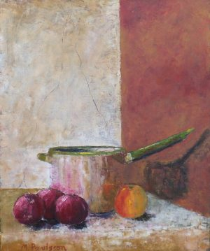 Kruka, rödlök och äpple