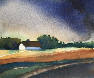 Landskap hus och träd